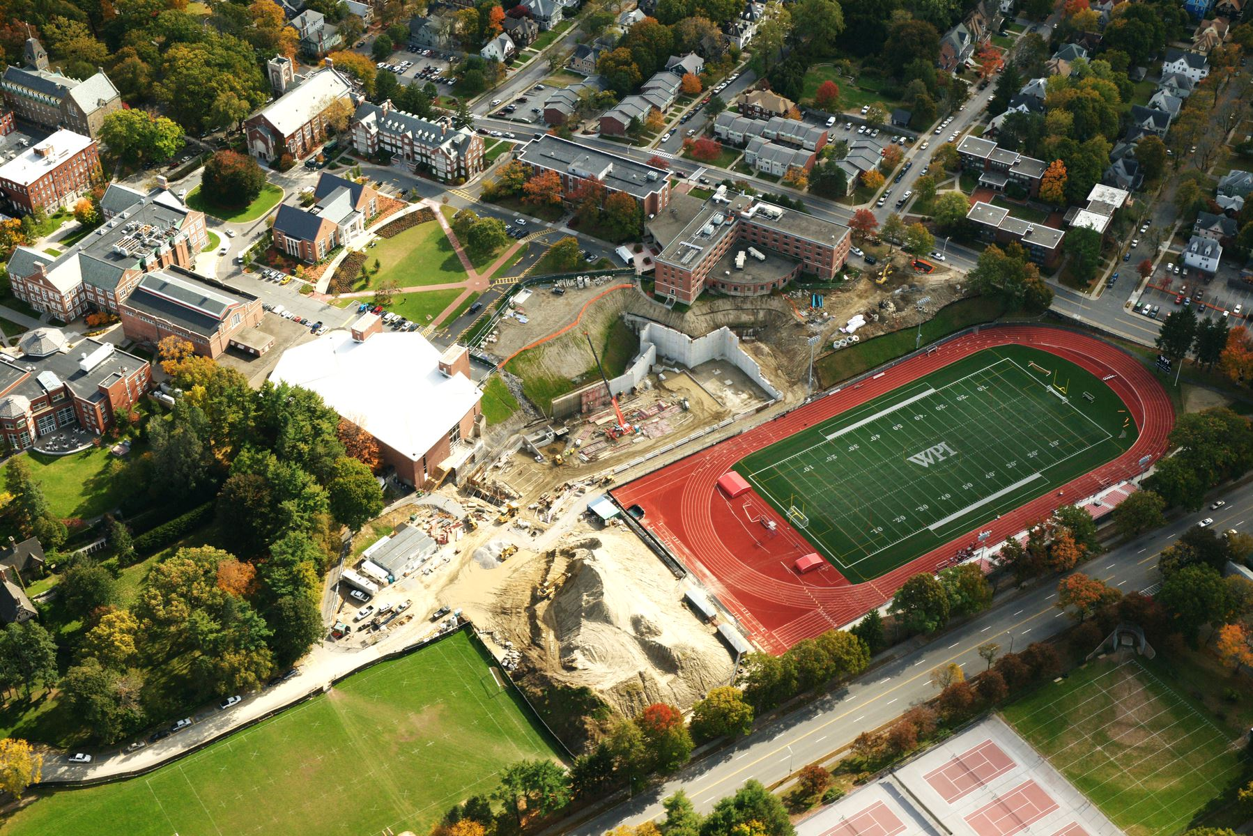 WPI Rec Center Progress Aerial